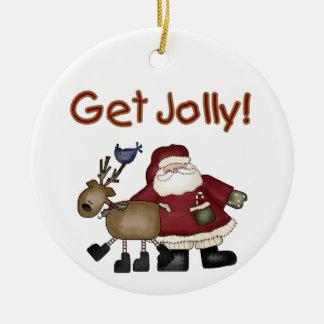 Santa and Reindeer Get Jolly Ornament
