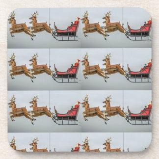 Santa and reindeer hard plastic coasters