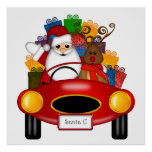 Santa and Reindeer in Red Sport Card with Presents Poster