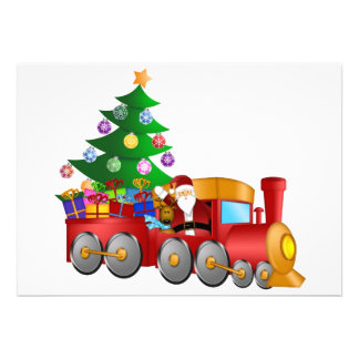 Santa and Reindeer in Red Train with Gifts Card Custom Announcement