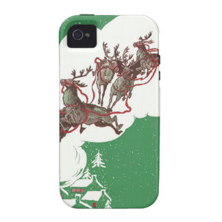 Santa and Reindeer on Christmas Eve Vibe iPhone 4 Cases
