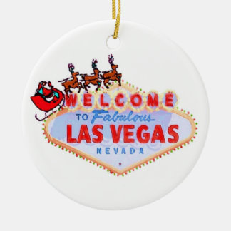 Santa and Reindeer on Las Vegas Sign Ornament