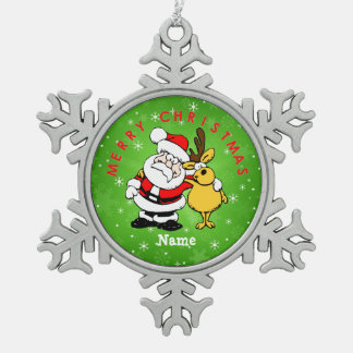 """Santa and Reindeer"" Pewter Snowflake Decoration"