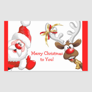 Santa and Reindeer Rectangular Sticker