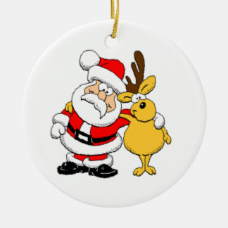 Santa and Reindeer Round Ceramic Decoration