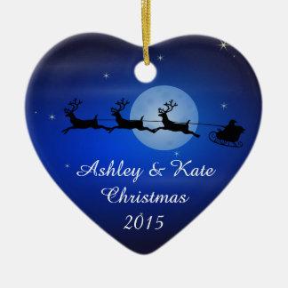 Santa and Reindeer Silhouette Ceramic Heart Decoration