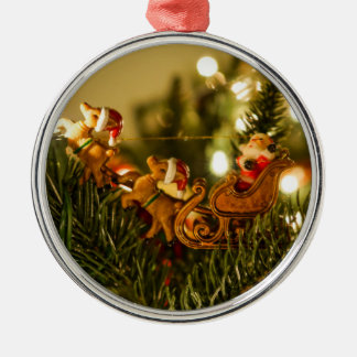 Santa And Reindeer Silver-Colored Round Decoration