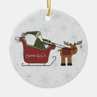 Santa and Reindeer Sleigh Round Ceramic Decoration
