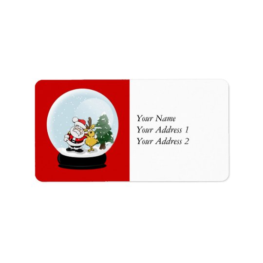 Santa and Reindeer Snowglobe Christmas Address Tag Address Label