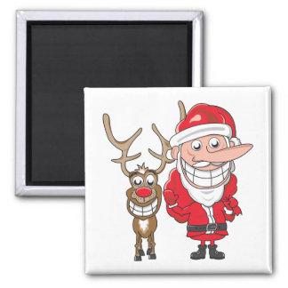 Santa and Reindeer Square Magnet