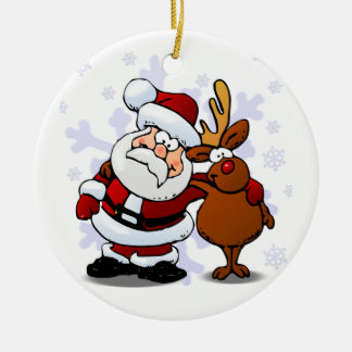 Santa and Reindeer Standing Arm in Arm Round Ceramic Decoration