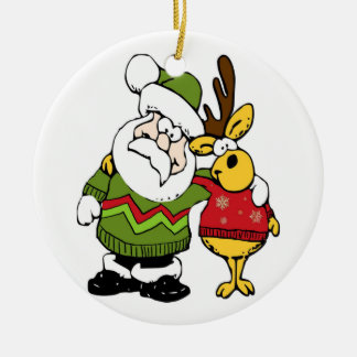 Santa and Reindeer Wearing Ugly Christmas Sweaters Round Ceramic Decoration