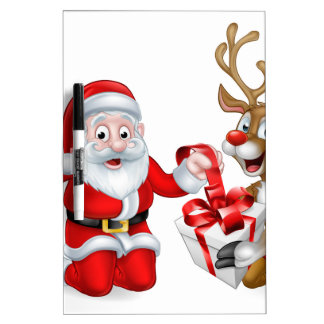 Santa and Reindeer with Christmas Gift Dry Erase Whiteboards