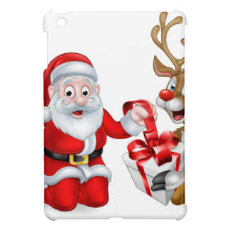 Santa and Reindeer with Christmas Gift iPad Mini Cases