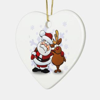 Santa And Reindeers Ceramic Heart Decoration