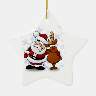 Santa And Reindeers Christmas Ornaments