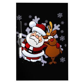 Santa And Reindeers Dry Erase Board