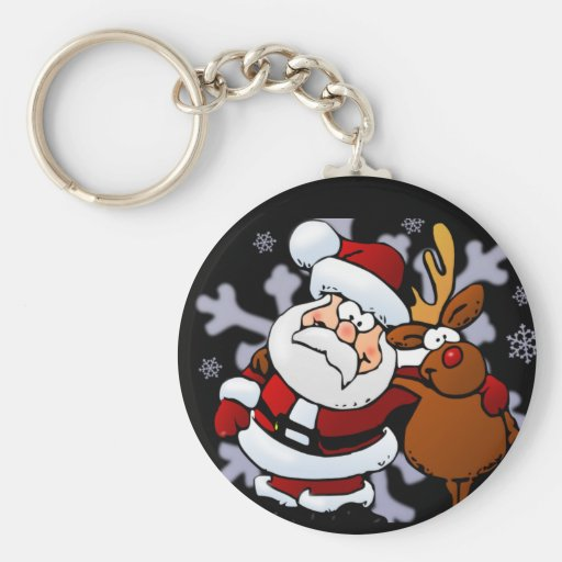 Santa And Reindeers Keychains
