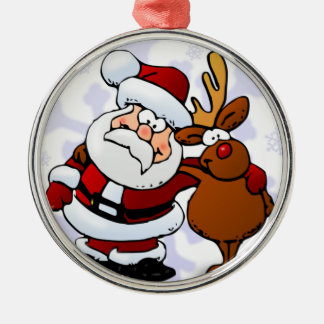 Santa And Reindeers Silver-Colored Round Decoration