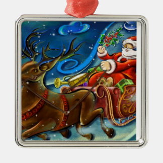 Santa and Reindeers Silver-Colored Square Decoration