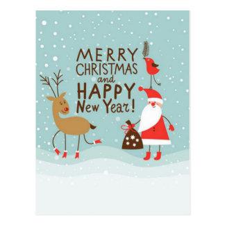 Santa and Rudolph Postcard