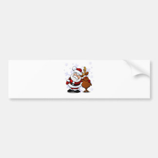 Santa and Rudolph Reindeer Standing Arm in Arm Bumper Sticker