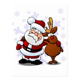 Santa and Rudolph/Reindeer Standing Arm in Arm Postcard