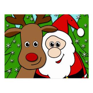 Santa and Rudolph selfie Postcard