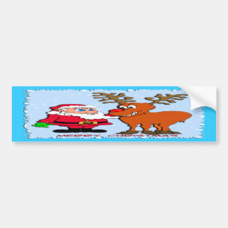 Santa and Rudolph T-Shirts Gifts Bumper Sticker
