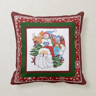 Santa and Sammy the Snowman Pillow