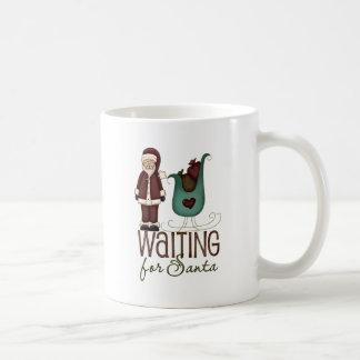 Santa and Sleigh Waiting For Santa Design Basic White Mug