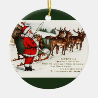 Santa and Sleigh with Reindeer Circle Ornament