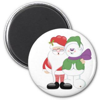 Santa and Snowman 6 Cm Round Magnet