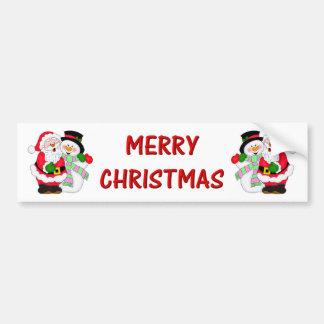 Santa and Snowman Bumper Sticker