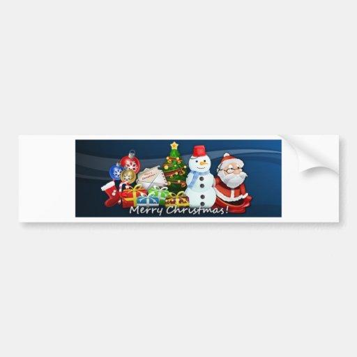 Santa and Snowman Christmas Bumper Stickers