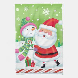 Santa and Snowman Friendship Kitchen Towel