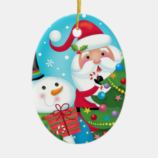Santa and Snowman Ornament