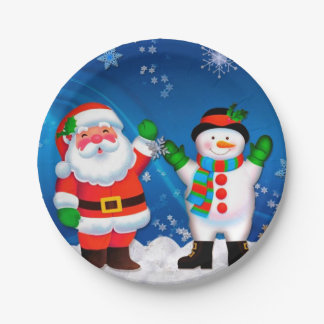 Santa and Snowman Paper Plate