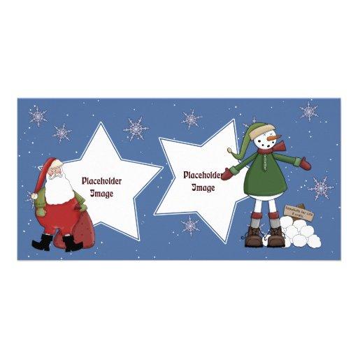 Santa and Snowman Photo Card