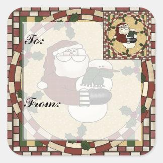 Santa and Snowmen Christmas Gift Tag Sticker