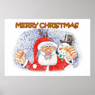 Santa and Snowy Poster