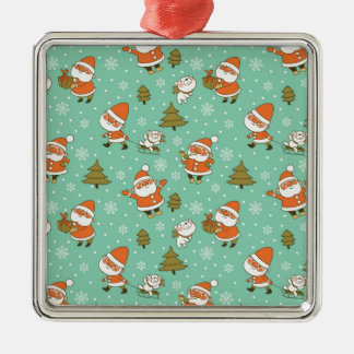 Santa and Teddy Bear Christmas Pattern. Silver-Colored Square Decoration