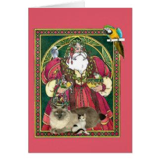 Santa And The Animals Greeting Card
