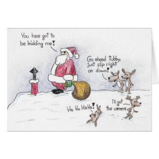 Santa and the Chimney Greeting Cards