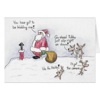 Santa and the Chimney Greeting Card