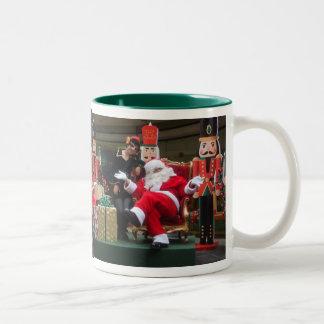 Santa and the Elf - Feliz Navidad Two-Tone Mug