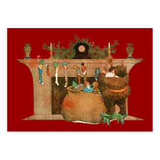 Santa and the Fireplace Large Business Cards (Pack Of 100)