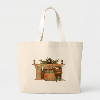 Santa and the Fireplace Tote Bags