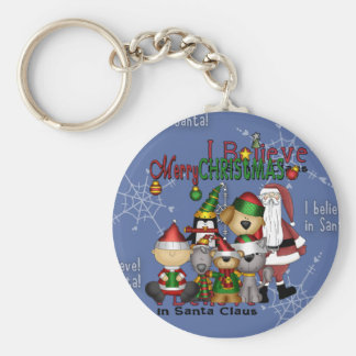 Santa and the gang basic round button key ring