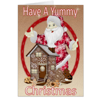 Santa and the Gingerbread House Card